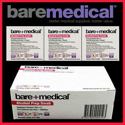 Alcohol Wipes / Swabs 25 to 1000 qty - Medical / Sterile Isopropyl Bare Medical