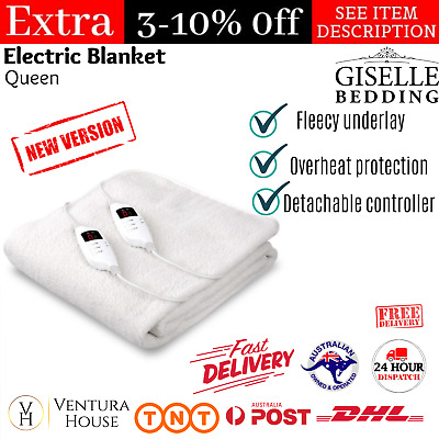 Giselle Bedding Queen Electric Blanket Fleecy Heated Fully Fitted Washable Bed