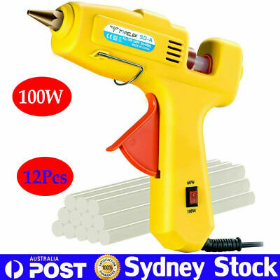 Pro 100W Glue Gun Electric Heating Craft Hot Melt Stick Heater + 12 Glue Sticks