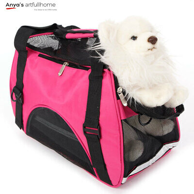 Pet Handbag Dog Carrier Portable Breathable Hollow-out Waterproof Rose Red S