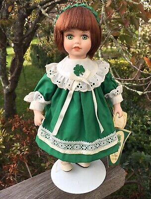 Pretty Vintage Irish Girl Blue Eyes Red Hair Ceramic Bisque Doll 28cm Green Eyes