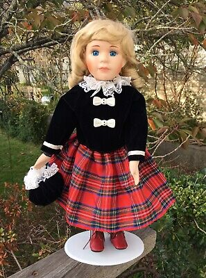 Pretty Vintage Scottish Girl Tartan Kilt Blonde Hair Ceramic Bisque Doll 28cm