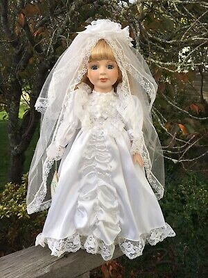 Pretty Ceramic Bisque Bride Doll 58cm Blonde Hair Blue Eyes White Satin Dress