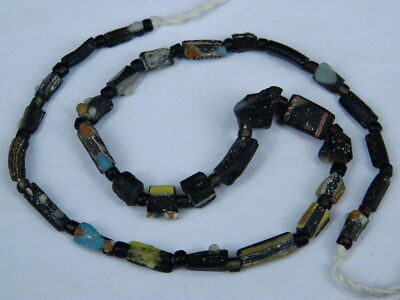 Ancient Mosaic Glass Fragment Beads Strand Roman 200 BC #BE5106