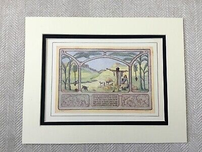Art Nouveau Print Jewish Middle Eastern Landscape Hebrew Text Judaica 1930