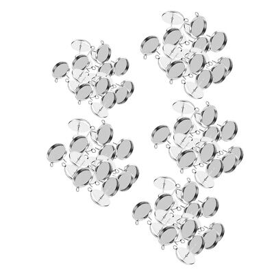 100Pcs Stainless Steel Earring Round Cabochon Tray Setting Blank Base 8-16mm