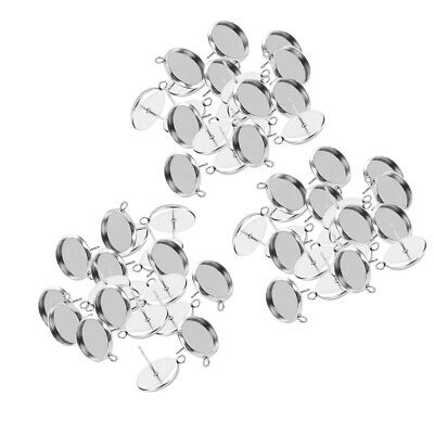 60Pcs Stainless Steel Earring Round Cabochon Tray Setting Blank Base 10-16mm