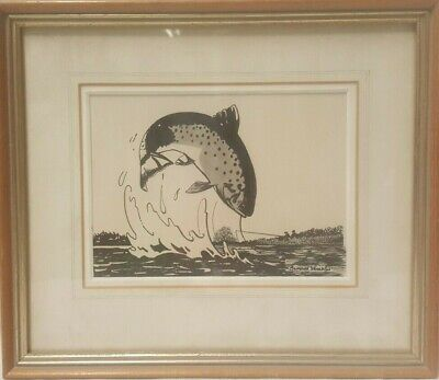 A Pair of 20th Century Pen and Ink Fish Paintings Signed Bernard Venables