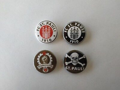 4 x FC St. Pauli buttons (badges, pins, botones, football team, soccer)