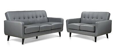 Grey Sofa PU Leather 3 seater, 2 Seater & Chairs. Small Compact Scandi Design