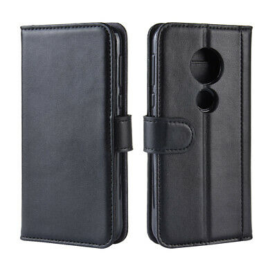 For Motorola Moto G7 Play US Genuine Leather  Folio Flip Wallet Case Stand Cover