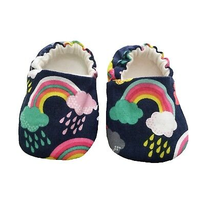 Baby SHOES Older Kids Slippers RAINBOWS ON NAVY Soft Sole Pram Shoes 0-9 Years