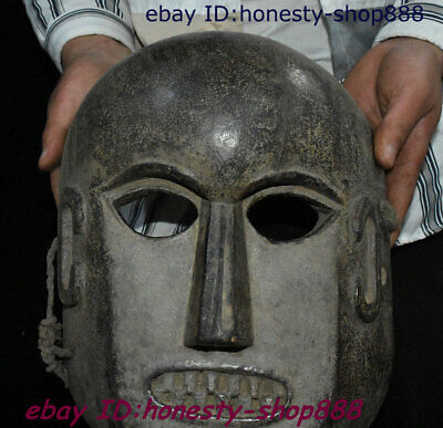 "12"" Old Wood Mahakala human skeleton Skull death's head Head Buddha Mask Statue"