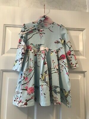Baby Girls Blue Floral Ted Baker Dress Flight Of The Orient Age 12-18 Months