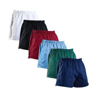 Mens Rugby Shorts 100% Premium Cotton Gym Leisure Fitness Training Active Wear