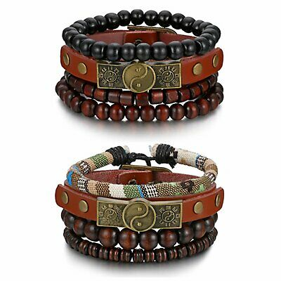 Mix 6-8pcs Wrap Leather Tribal Beaded Cuff Wristband Bracelet Set for Men Women
