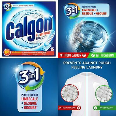 Calgon 3-in-1 Washing Machine Water Softener Tablets, 75 Tabs, Pack of 1