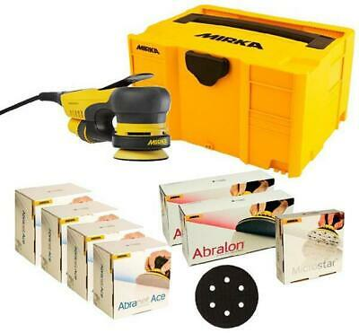 Mirka DEROS 325CV 77mm Electric Sander 230V 5mm Orbit + Mixed Discs & Case Kit