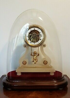A beautiful late 19thC French swinging cherub mantle clock - PD Paris 1880/90