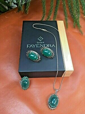 Designer Fayendra Sterling Silver Necklace Ring Earring Green Chalcedony $450