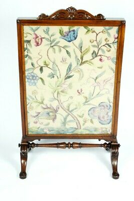 Antique Mahogany Needlepoint Fire Screen with Extra Moving Screen [5161]