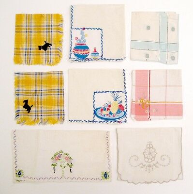 Vintage Lot of 8 Small Embroidered Misc 1940-50's Linens and Textiles