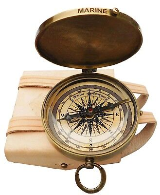 Antique Brass Robert Frost Poem Engraved Nautical Compass With Leather Case