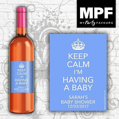 Personalised Wine Bottle Labels - Baby Shower 'Keep Calm' - BLUE (Big 750ml)