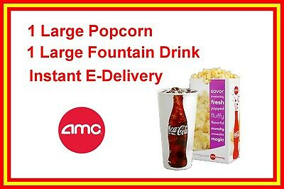 AMC Theatres LARGE Popcorn and 1 LARGE Drink exp. 6/30/20 Instant delivery