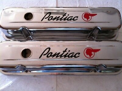 326,350,400,455 Pontiac SHORT Chrome Valve Covers 1959-79 GTO Firebird Trans Am