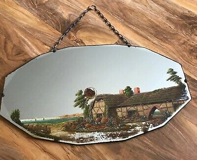 Beautiful Painted English Country Cottage Vintage Art Deco Wall Mirror Chain