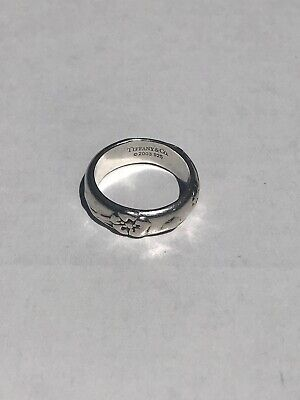 5e8676212 2003 Tiffany & Co Nature Rose Flower Band 925 Sterling Silver Ring Size 5