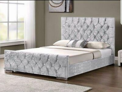 New - Chestefrield Sleigh Bed In Crushed Velvet And Plush Fabric 4Ft6 Double 5Ft