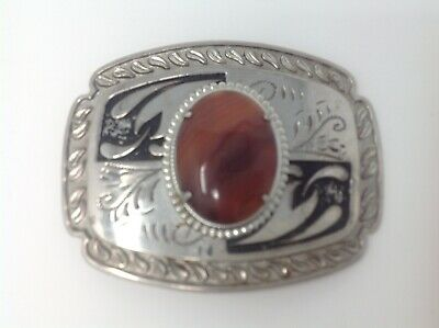 Vintage Western Silver Belt Buckle with Polished Stone