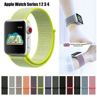 Woven Nylon Sport Loop Wrist Band Strap For iWatch Apple Watch Series 1 2 3 4 UK