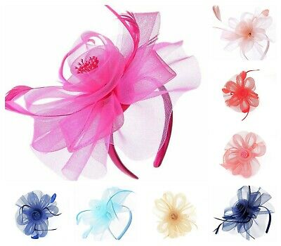 Ladies Flower Feather Looped Headband & Clip Fascinator Day Wedding Royal Ascot