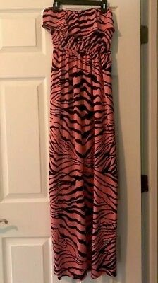 2b bebe Women's Coral/Black Ruffle Strapless Long Maxi Dress, Size Small
