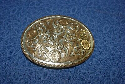 Western Cowboy Belt Buckle Sterling Montana Silversmiths, Silver and Gold Oval