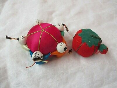 Vintage 2 Pin Cushions hot pink with Chinese Children & Strawberry