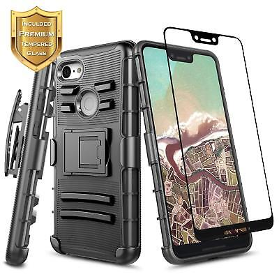 For Google Pixel 3a / 3a XL Case Holster Clip Hybrid Phone Cover +Tempered Glass