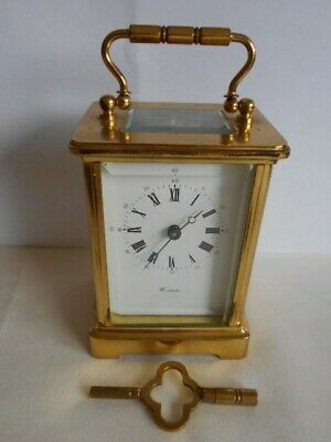 Vintage Heavy 8 Day Worcester Obis Brass Hand Wound Carriage Clock