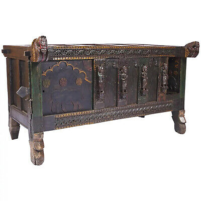 19th Century Antique Indian Dowry Chest / Trunk depicting Horse Heads and Humans
