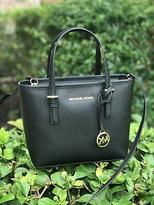 b12b7a7af74d NWT Michael Kors Jet Set Travel XS Leather Small Tote Crossbody Satchel in  Black