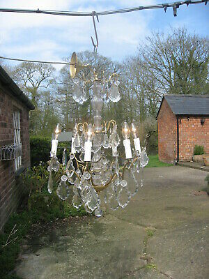 French Antique  6 Branch Chandelier & Crystal Drops Superb  /4115