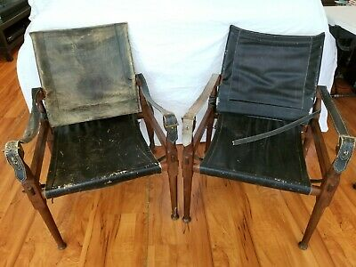 Hayat Bros Peshawar Pakistan CAMPAIGN SAFARI CHAIRs COLLAPSIBLE RoseWood Leather