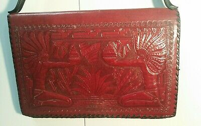 Vintage 1960s Leather Hand Tooled Mexican Aztec Mexico Large Purse Bag Handbag