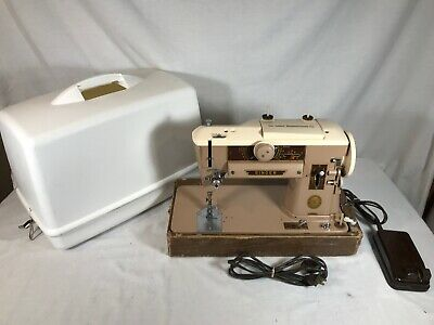Vtg Singer Sewing Machine 401A With Power Cord & Case - Tested