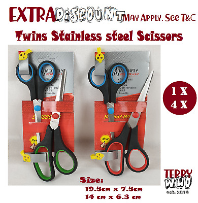 1x  4x Twins Pack Stainless steel Scissors for Kitchen Paper Cut School