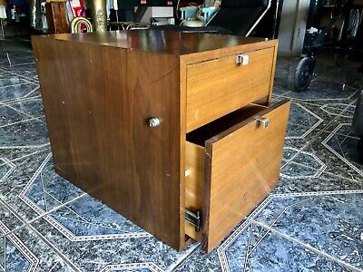 George Nelson for Herman Miller Two-Drawer Medium Dark Wood Tone File Cabinet