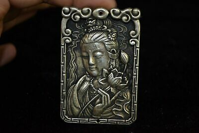 chinese Old tibet Silver carve kwan-yin lotus amulet woman pendant Collectible